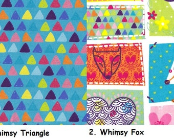 Day Care Cot Sheet - 100% Cotton Flannel - Whimsy Triangle and Whimsy Fox