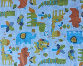 Day Care Cot Sheet - 100% Cotton Flannel - Midtone Zoo on White Background