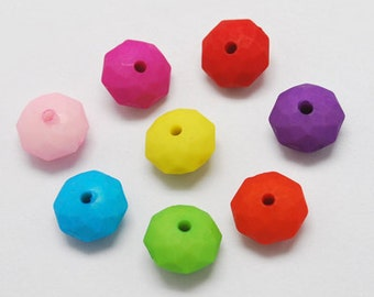 50 Colorful Acrylic Beads, Frosted, Faceted, Mixed Color, Abacus, 10x6mm, hole: 1.5mm
