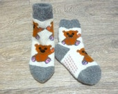 Woolen Children's Knitted Soft Very Warm Socks With Ornament Bear