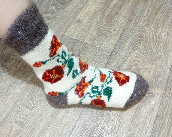 Knitting Pattern Thick Wool Socks : Womens Knitted Warm Soft Thick Socks Merino Wool With