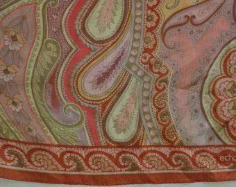 Echo Paisley Pinks Gold Silk Scarf
