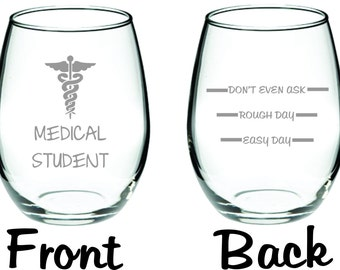 Etched Medical Student Glass  with Levels on Back FREE Personalization