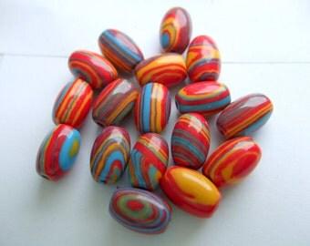 Multi Color Plastic Barrel Bead x 17  # ZZZ 16