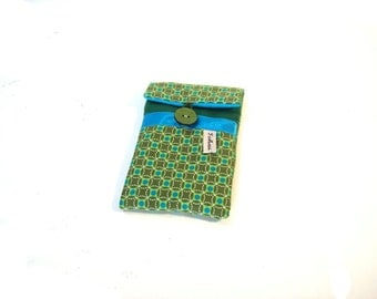 graphic fabric phone sleeve-green iphone case-quilted case in canvas