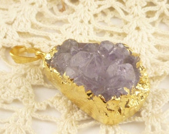 Amethyst Colored Geode Druzy Pendants, Gold Electroplate (1)