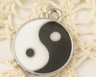 Silver Tone Enameled Yin Yang Coin Charms (2)  - S19