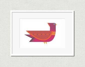 Modern bird print, bird illustration, modern nursery art, bird decor, kids room decor, colorful nursery art, purple bird, bird print