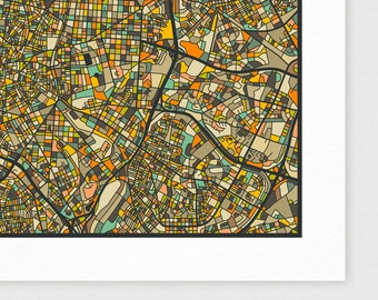 MADRID Map, Giclee Fine Art Print, Modern Wall Art for the Home Decor by Jazzberry Blue