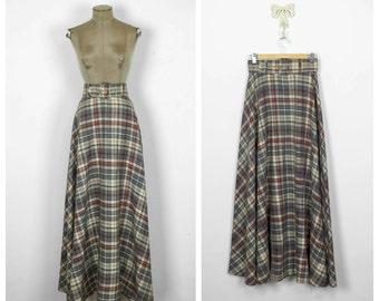 70s Belted Wool Maxi Skirt • 1970s A line Plaid Floor Length Skirt • Long Full Skirt • Medium