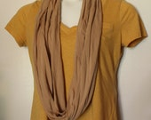 Comfortable Camel Colored Jersey Knit Infinity Scarf - Lightweight, Simple, Basic, Easy to Match