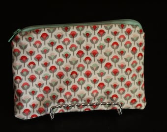 Small Tulips & Mint Zipper Pouch with Grey on White Polka Dot Lining - Pink, Red, Mint, Grey, Mix and Match, Mixed Pattern, Makeup Bag