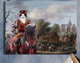 Calico Cat Fine Art Canvas Print - A landscape with a hunting party outside a tavern