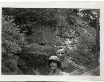 Old Photo Couple Outside Woman wearing Hat 1920s Photograph snapshot Vintage Man