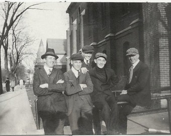 Old Photo Men Sitting on Railing wearing Suits Hats 1920s Photograph snapshot vintage
