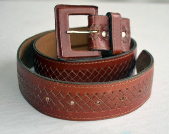 Brown Belt Genuine Leather Wide Women Vintage, ON SALE