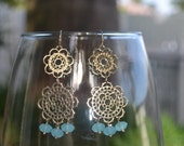 Gold Lace Dangle Earrings, Textured Gold Lace & Mint, Gold Filigree Earrings with Aqua Blue Faceted Aqua Blue Opaque Crystals, Boho Chic