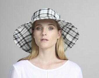 Black & white cotton hat , Womens summer hats , Womens hat , Beach hat , Sun Hat , Hats for women , Custom summer hats