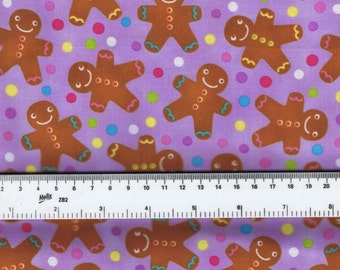 Fat Quarter Candy Christmas Gingerbread Men 100% Cotton Quilting Fabric