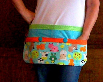 Preschool Teacher Apron - Baby Farm Animal Utility Apron - Tool Belt Teacher Apron One Size