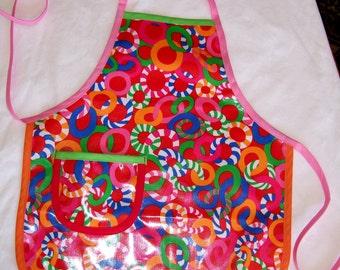 Colorful Candy Kids Vinyl Apron - Vinyl Play Apron - Child Size M
