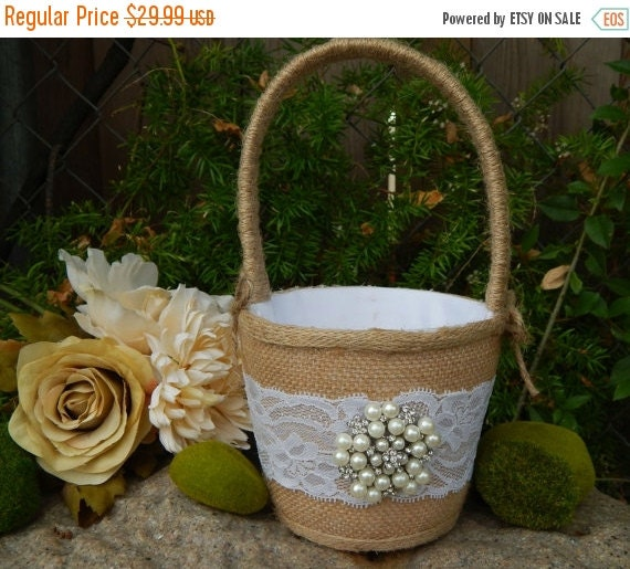 Flower Girl Baskets Burlap : On sale burlap flower girl basket by