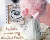 REFILLABLE Powder Puff and Glass Powder Shaker Combo Gift Set (no need for a powder dish - powder inside the puff)