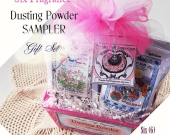 Dusting Powder SAMPLER Gift Set - Six (6) Fragrances with 2 Different Vintage Style Packaging Options to Choose From