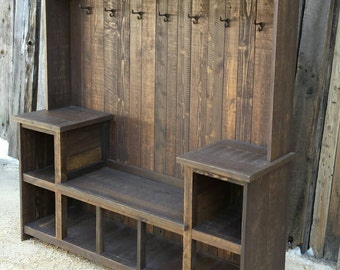 Rustic Reclaimed  Hall Tree Bench