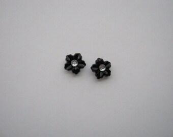 9mm Black Rippled Flower Stud Earrings with Crystal Center Stud Earrings with Surgical Steel Posts