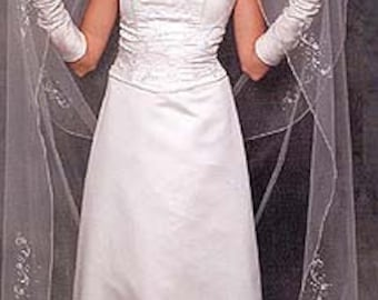 Two layer wedding veil, 28 inch long blusher and 108 inch long cathedral layer, pencil edges, lightly embroidered
