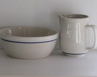 Vintage CEREAL BOWL w Milk PITCHER/Gibson Ceramic China/Cereal Bowls/Restaurantware Bowls/Ceramic Cereal Bowls/Ceramic Creamer/Breakfast Set