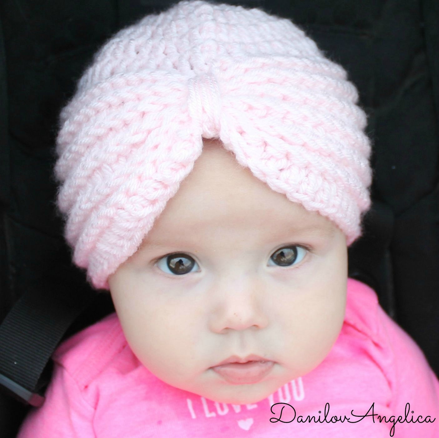 Free crochet pattern for baby turban hat manet for crochet turban hat crochet baby girl hat pink by baditri Images