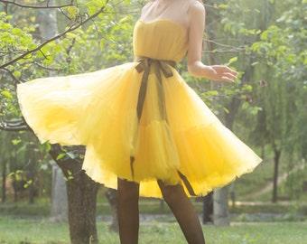 tulle skirt tutu skirt tulle dress  tutu  dress,lolita dress, princess dress ,tulle princess dress tulle  wedding dress in color yellow