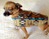 Fleece Coat for Small Dog Coffee Brown, Tan, Turquoise & Black Navajo Print Made to Order for Chihuahua Shih Tzu Size
