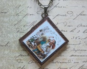 Book Necklace, Alice in Wonderland Miniature Book Necklace, Blank Book Charm Necklace, Book Lovers Jewelry, Real Miniature Book Necklace
