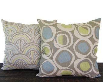 Pillows, Throw Pillow Covers, Cushion covers shams, Decorative Pillow, Pair of blue green kiwi gray beige oatmeal geometric modern