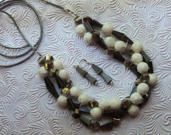 necklace and earring set, Japanese fiber beads, metal beads, on adjustable length silver leather, OOAK