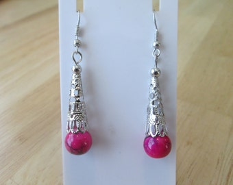 SALE Silver Tone Filigree Cone Dangle Earrings with a Pink BeadCenter