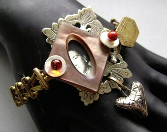 A Glimpse Of Love, Assemblage bracelet, mixed media jewelry, upcycled vintage, mother of pearl, tintype, Scorchedearth, ooak, AnvilArtifacts