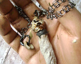 Earths Ancient Treasure, assemblage necklace, fossil seashell, ceramic bead, ancient lake fossil, chainmaille, fossil bead, AnvilArtifacts