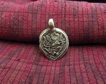Antique Silver Hanuman Hindu Amulet