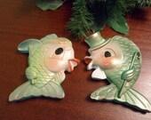 Mr. & Mrs. Kissing Chalkware Fish Plaques,  Anthropomorphic Chalkware Fish Wall Decor   (T)