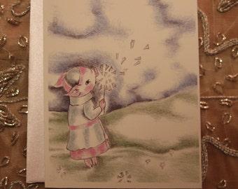 Wishing Pig Greeting card, friendship card, wishing you were here, Sweet pink pig