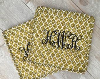 Vintage Gold Monogrammed Potholder Set - Set of 2 - Hot Pads - Pot Pads - Bridal Gift - Shower Gift - Birthday Gift - Hostess Gift