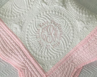 Personalized baby blanket monogrammed baby quilt boy and monogrammed baby quilt sip and see gift new baby gift baby crib quilt negle Image collections