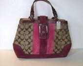 Vintage COACH logo purse, fuchsia suede and leather trim, Designer handbag, Woman's accessory, gift idea