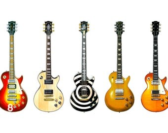 Gibson Les Paul Guitar Panorama Print. 7 Famous Gibson Les Pauls