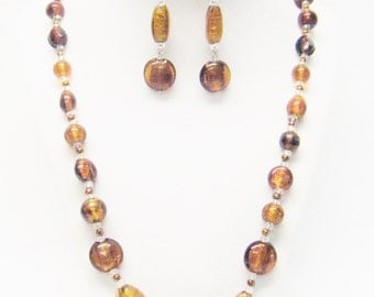 Assorted Shapes & Sizes Brown Foil Lined Glass Bead Necklace /Earrings Set
