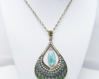 Gold Plated Filigree Tear Drop Pendant Necklace w/Multi-Color Small Beads